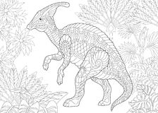 Zentangle hadrosaur dinosaurus stock illustratie