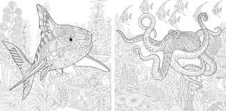Zentangle haj och bläckfisk Fotografering för Bildbyråer