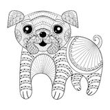 Zentangle Hand drawing Dog for antistress coloring pages, post c Royalty Free Stock Image