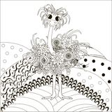Zentangle hand drawn black and white ostrich on hills, anti stress royalty free illustration