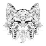 Zentangle Hand drawn Cat face for adult antistress coloring page. S, post card, t-shirt print, logo. Cat illustration  in doodle style, tattoo monochrome design Stock Photography
