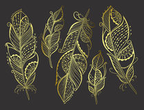 Zentangle hand drawn gold stylized feathers Royalty Free Stock Photos
