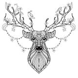 Zentangle Hand drawn magic horned Deer for adult antistress colo Royalty Free Stock Images