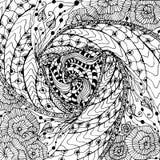 Zentangle hand drawn monochrome background vector illustration