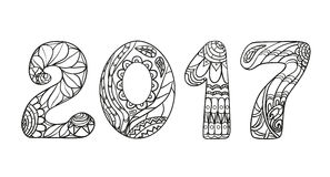 2017 Zentangle. Hand drawn numbers. 2017 Numbers . Zentangle. Hand drawn numbers with abstract patterns on isolation background. Design for spiritual relaxation Royalty Free Stock Photography