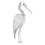Zentangle Hand drawn Stork for adult antistress coloring pages,. Post card, t-shirt print, Wedding invitation. Bird illustration in doodle style, tattoo Royalty Free Stock Photos