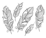 Zentangle hand drawn stylized feathers Royalty Free Stock Images