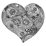 Zentangle heart for adult anti stress coloring page Royalty Free Stock Images