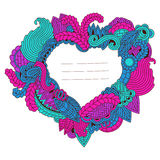 Zentangle heart pattrern with space for text stock illustration