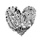Zentangle heart shape, sketch for your design Stock Images