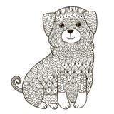 Zentangle hund för att färga sidan, skjortadesign, logo, tatueringen och garnering Royaltyfri Bild