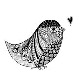 Zentangle inspired abstract illustration of bird Stock Images