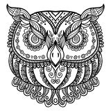 Zentangle inspired abstract owl . Vector hand drawn illustration. Tattoo or henna template, beautiful design for prints, cards or t-shirts royalty free illustration
