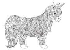Zentangle-inspired design of happy little pony for adult coloring book pages Stock Photography