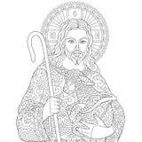 Zentangle Jesus Christ illustrazione di stock