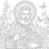 Zentangle Jesus Christ vektor illustrationer