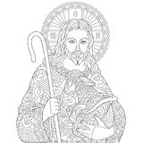 Zentangle Jesus Christ. Jesus Christ and newborn Baby Sheep. Portrait of christian biblical character. Coloring Page for adult colouring book. Antistress stock illustration