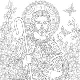 Zentangle Jesus Christ. Jesus Christ with a lamb. Portrait of christian biblical character with floral background. Easter Coloring Page. Coloring Book vector illustration