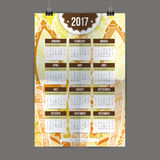 Zentangle kalendarza 2017 kolorowa ręka malował w stylu kwiecistych wzorów i doodle Zdjęcie Stock
