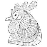 Zentangle-Karikaturhahn oder -hahn Hand gezeichnete Skizze für Erwachsenen c Stockbild