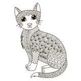 Zentangle katt för att färga sidan, skjortadesign, logo, tatueringen och garnering Arkivfoto