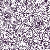 Zentangle kleurende pagina Krabbel naadloos patroon in vector Creatieve bloemenachtergrond voor uw ontwerp, verpakkend document Stock Afbeelding