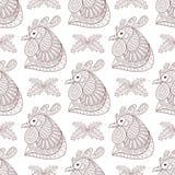 Zentangle kreskówki kogut z jemioła bezszwowym wzorem Zdjęcie Royalty Free