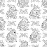 Zentangle kreskówki kogut z jemioła bezszwowym wzorem ilustracji