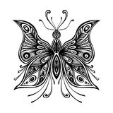 Zentangle lace butterfly for tattoo or coloring page Stock Photo