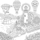 Zentangle lighthouse and hot air balloons Stock Images