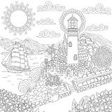 Zentangle lighthouse on sea shore. Lighthouse on sea shore and sailing ship. Coloring Page. Colouring picture. Adult Coloring Book idea. Freehand sketch drawing stock illustration