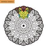 Zentangle mandala - kolorystyki książki strona dla dorosłych, relaksuje i medytacja, wektor, doodling Zdjęcia Stock