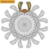 Zentangle-Mandala - Malbuchseite für Erwachsene, entspannen sich und Meditation, der Vektor und kritzeln Lizenzfreie Stockfotos