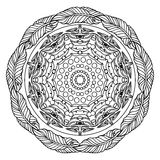 Zentangle mandala, page for adult colouring book, vector design element. Ornamental round doodle star isolated on white background. Digital Rosette stock illustration