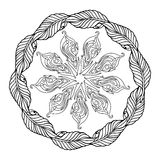 Zentangle mandala, page for adult colouring book, vector design element. Ornamental round doodle star isolated on white background. Digital Rosette royalty free illustration
