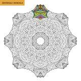 Zentangle mandala - sidan för färgläggningboken för vuxna människor, kopplar av och meditationen, vektorn som klottrar Fotografering för Bildbyråer