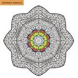Zentangle mandala - sidan för färgläggningboken för vuxna människor, kopplar av och meditationen, vektorn som klottrar Royaltyfria Bilder