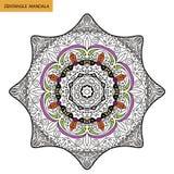 Zentangle mandala - sidan för färgläggningboken för vuxna människor, kopplar av och meditationen, vektorn som klottrar Arkivfoto