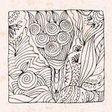 Zentangle med buketten av blommor och äpplet stock illustrationer
