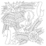 Zentangle New Year decorations. New Year decorations. Christmas ball, jingle bells, candle, candy stick, ribbons, holly berry leaves, fir branch. Freehand sketch Stock Photography