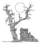 Zentangle-paintin Baum und Schloss Stockfotografie