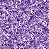 Zentangle pattern with text Love. Valentines day purple backdrop. Vector seamless pattern for coloring book page. Stock Photos