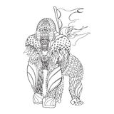 Zentangle patterned gorilla standing. EPS10 vector illustration Royalty Free Stock Photos