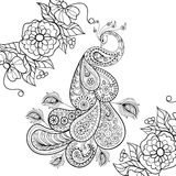 Zentangle Peacock totem in flowersfor adult anti stress Coloring. Page for art therapy, illustration in doodle style. Vector monochrome sketch with high details Royalty Free Stock Photos