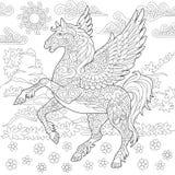 Zentangle pegasus horse Royalty Free Stock Image