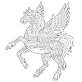 Zentangle pegasus horse. Pegasus - Greek mythological winged horse flying. Coloring page. Coloring book. Antistress freehand sketch drawing with doodle and stock illustration