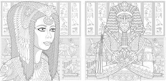 Zentangle-Pharao und Kleopatra-Königin lizenzfreie abbildung