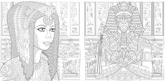 Zentangle pharaoh and Cleopatra queen. Ancient pharaoh Tutankhamen, queen Cleopatra Nefertiti, egyptian symbols hieroglyphs on the background. Set collection for Stock Photos