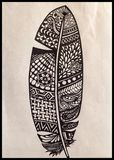Zentangle piórko Fotografia Royalty Free