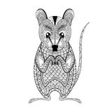 Zentangle Possum totem for adult anti stress Coloring Page Royalty Free Stock Photography